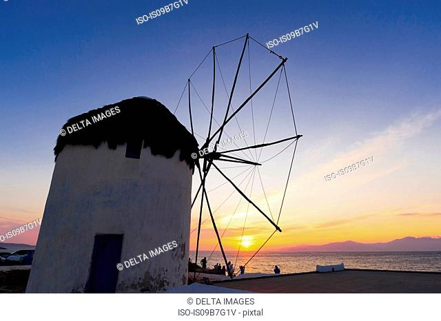 Windmill at sunset, Mykonos Town, Cyclades, Greece