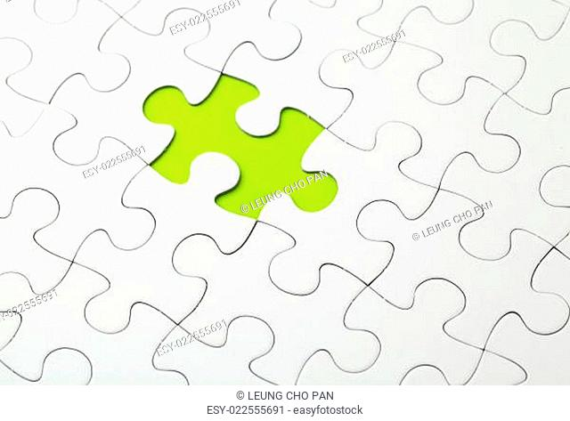 Missing puzzle piece in green color