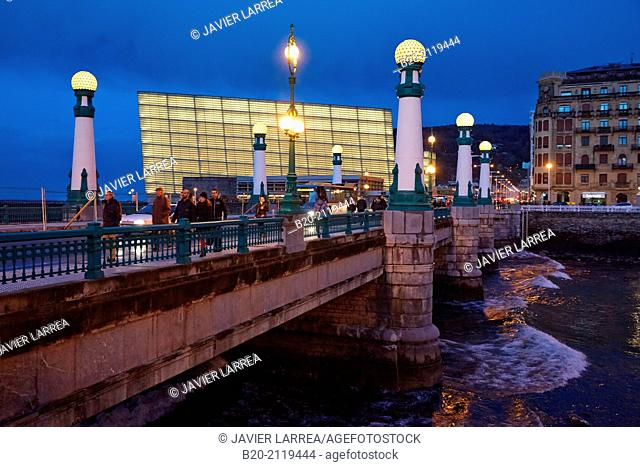 Zurriola Bridge on the Urumea River. Kursaal Palace. Donostia. San Sebastian. Gipuzkoa. Basque Country. Spain
