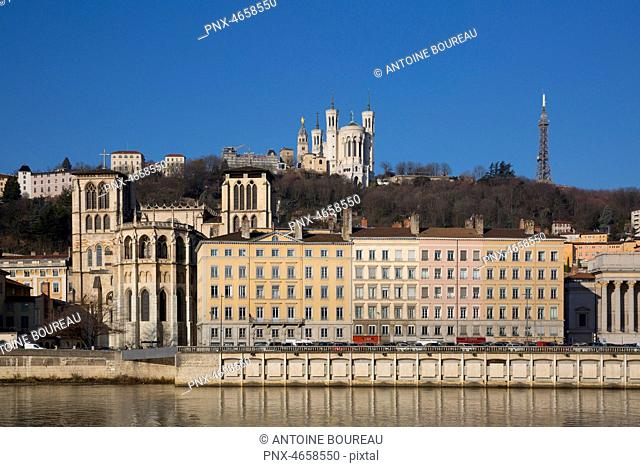 Cathedral Saint-Jean and Basilica of Fourviere, Lyon, France