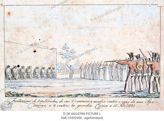 The execution by firing squad of eight people who took part in the revolt in Sicily, September 15, 1820, engraving. Italy, 19th century