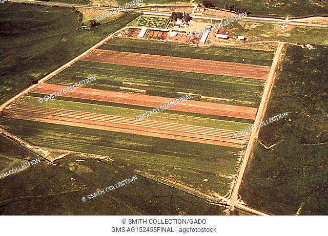 Aerial photograph of a farmland with irrigation canals, potential breeding ground for mosquitoes when they have standing water and a site relevant for the...
