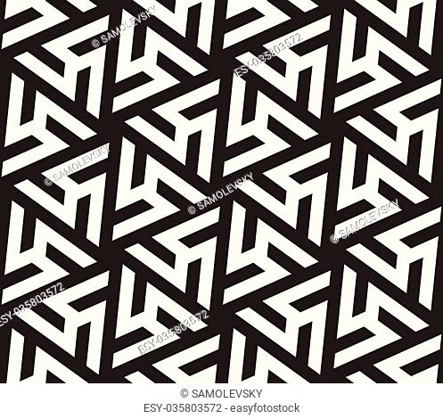 Vector Seamless Black And White Geometric Triangle Shape Tiling Pattern Abstract Background