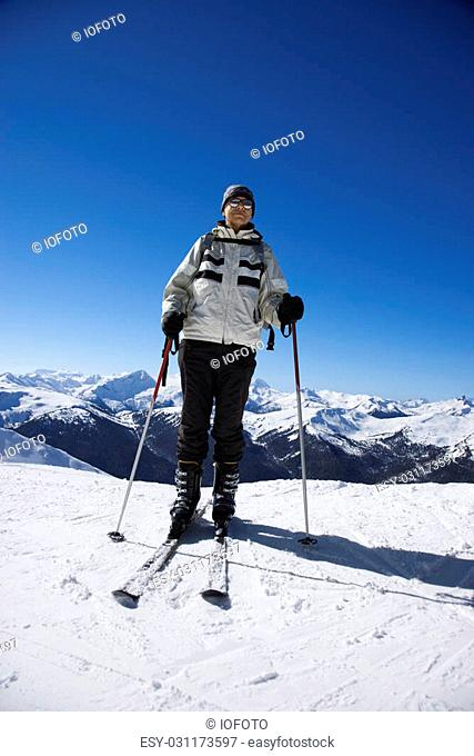 Caucasian senior man skier on slopes