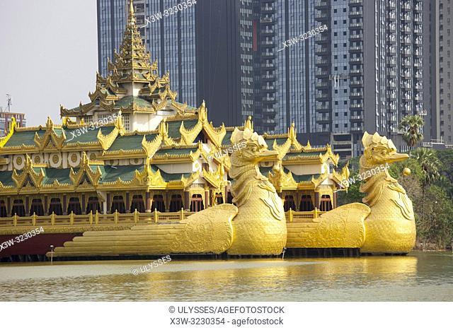 Karaweik Palace, Kandawgyi lake, Yangon, Myanmar, Asia