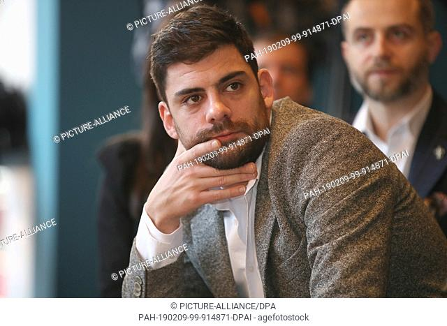 """09 February 2019, Berlin: 69th Berlinale: The actor Milan Maric, Serbia, is at the reception and press conference for the """"""""European Shooting Stars 2019"""""""" in..."""