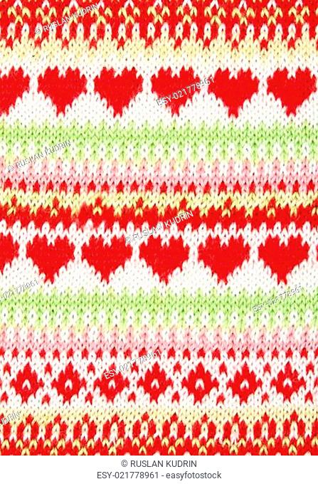 knitted background with a pattern in the shape of heart