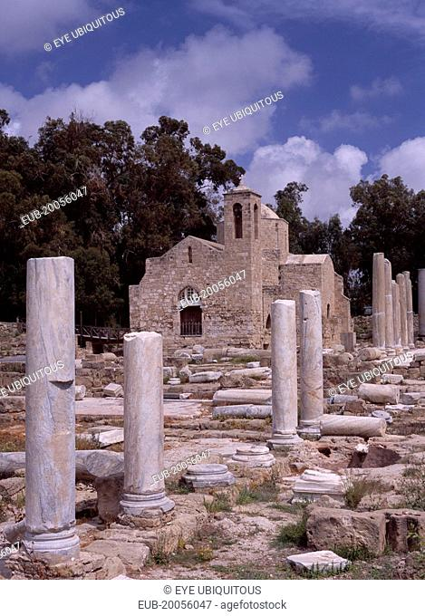 Twelth century Byzantine church. Part restored exterior in area of fallen masonry and ruined remains of standing columns