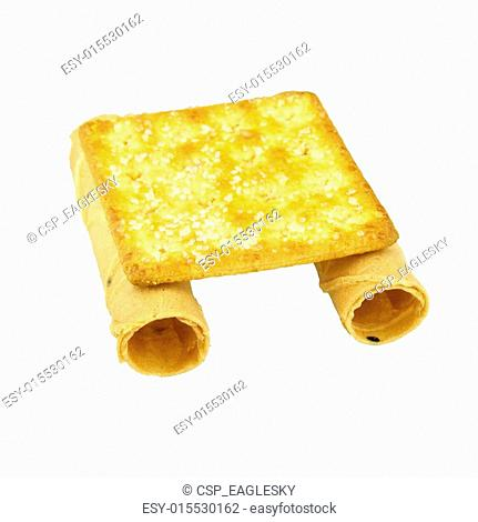 Tong Muan rolled wafer and cracker Thailand as binoculars isolated