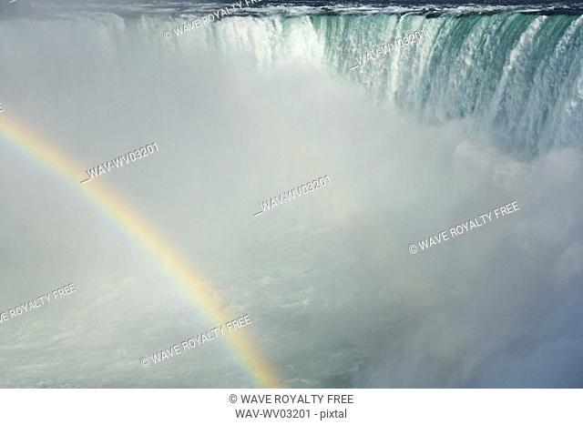 Horseshoe Falls and the American Falls and the Maid of the Mist at Niagara Falls, Ontario, Canada