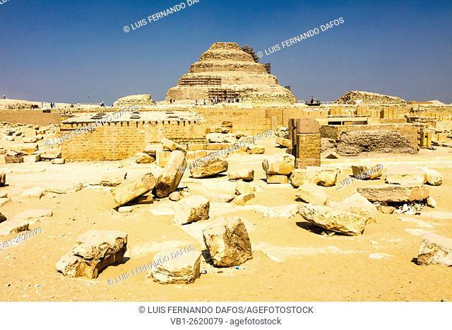 Step Pyramid at the funerary complex of Zoser. Saqqara, Egypt