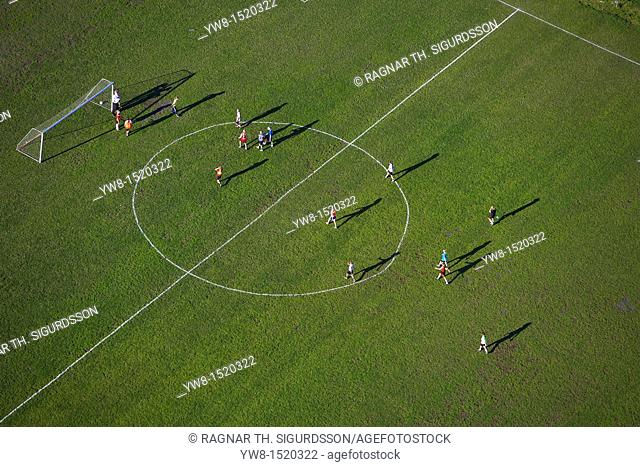 Aerial of football game, Iceland