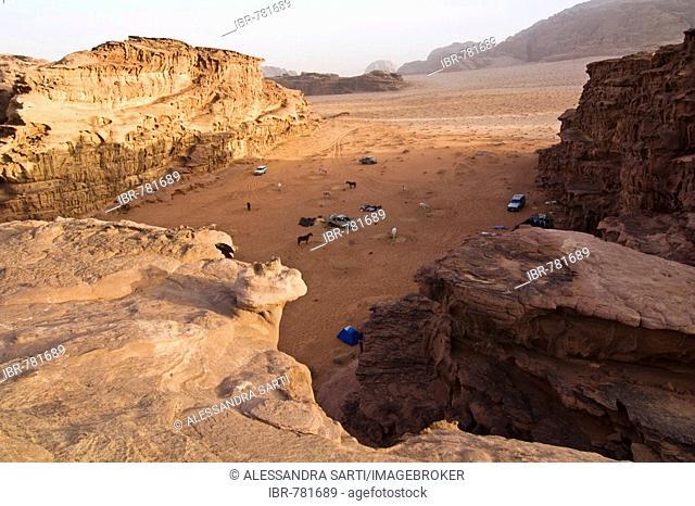 Camp with horses in the desert, Wadi Rum, Jordan, Middle East