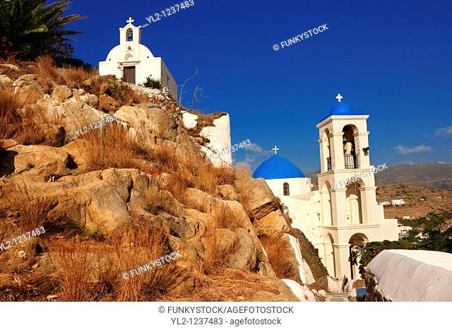 Greek Orthodox Chapels and Church on Chora hill Hora, Ios, Cyclades Islands, Greece
