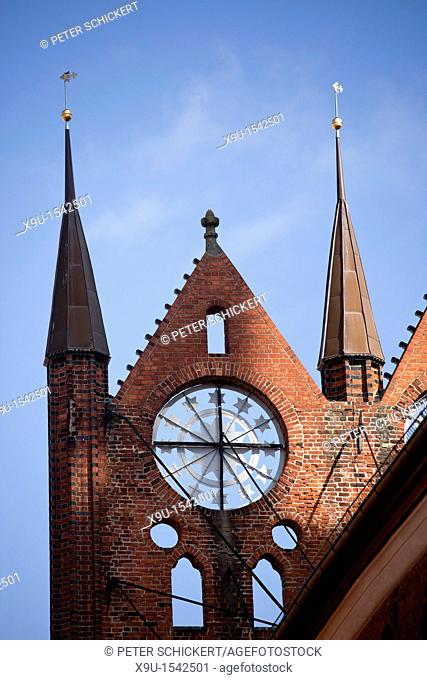typical gable detail of the Gothic Town Hall in the Hanseatic City of Stralsund, Mecklenburg-Vorpommern, Germany