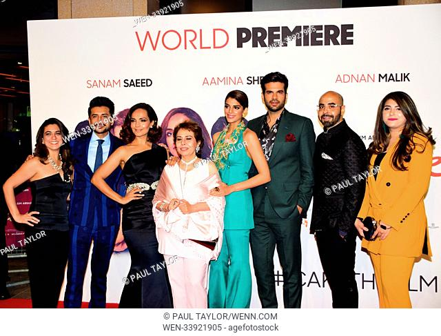 'Cake' World Premiere at London's West End in Leicester Square - Arrivals Featuring: AAMINA SHEIKH, SANAM SAEED, ADNAN MALIK, BEO RAANA ZAFAR, ASIM ABBASI