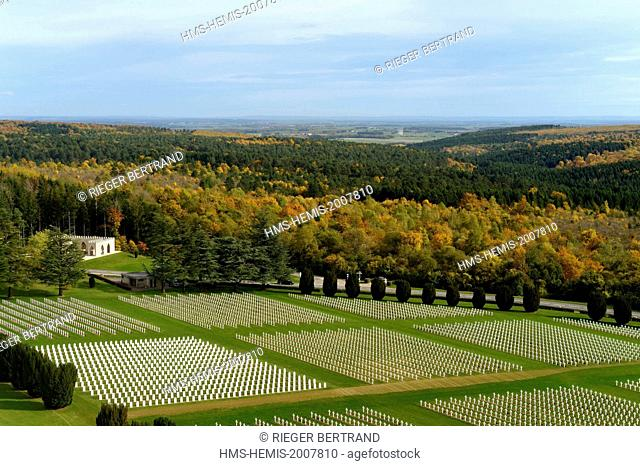 France, Meuse, Douaumont, battle of Verdun, ossuary of Douaumont, national necropolis, graves of soldiers alignment, a square of Muslims soldiers graves on the...