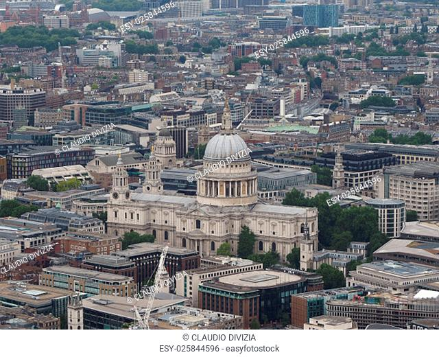 Aerial view of St Paul cathedral in London, UK