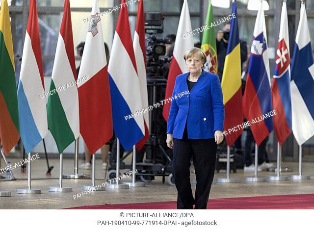 10 April 2019, Belgium, Brüssel: Chancellor Angela Merkel (CDU) comes to the EU special summit on Brexit. Shortly before the start of the EU special summit on...