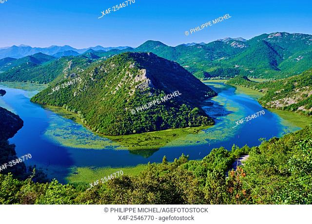 Montenegro, Lake Skadar National Park, View of the river bend of the Rijeka Crnojevica river