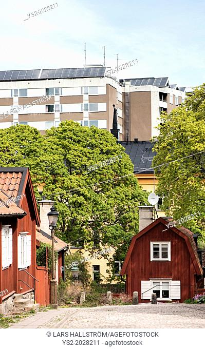 City scene with old and new buildings in Stockholm, capital of Sweden