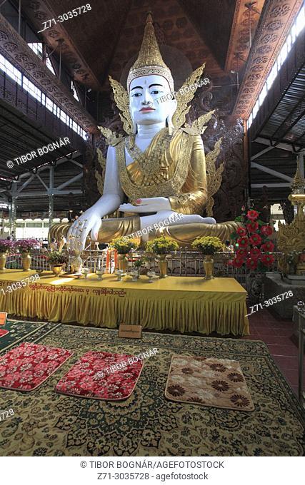 Myanmar, Yangon, Ngahtatgyi Pagoda, Buddha statue,