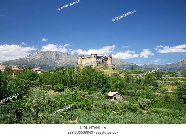 view of public Mombeltran castle at Castilla in Spain