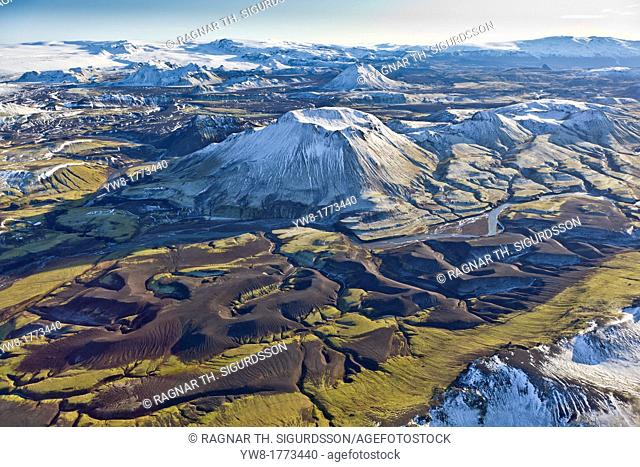 Aerial of Mountains, Emstrur Area  Iceland Region near Katla, a subglacial volcano under Myrdalsjokull Ice Cap  Icelandic volcanologists are expecting an...