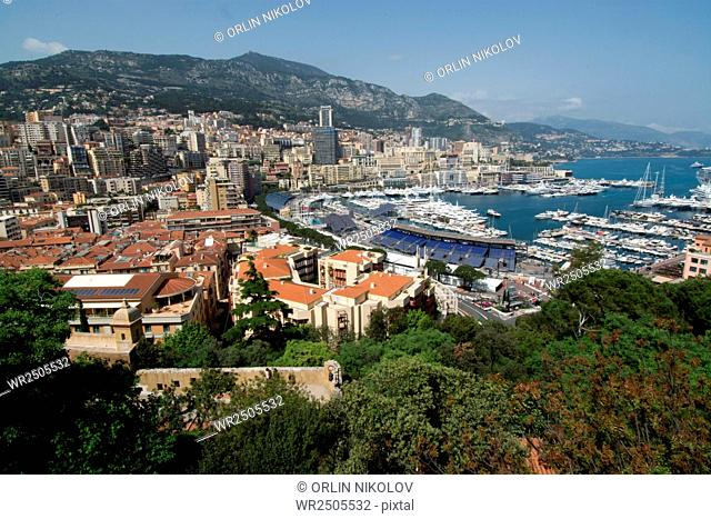 View on the hills of The Palace of the Princes of Monaco, France, Cote d'Asure
