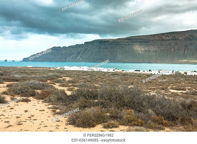 Famara cliffs in Lanzarote from Isla Graciosa, Canary Islands, Spain