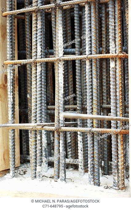 Construction rebar tied together in a vertical position