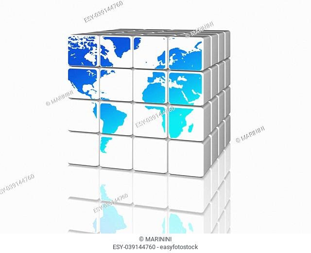 3d white cubes with blue world map