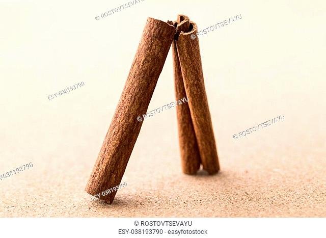 Two cinnamon sticks on corkwood background. Space for text