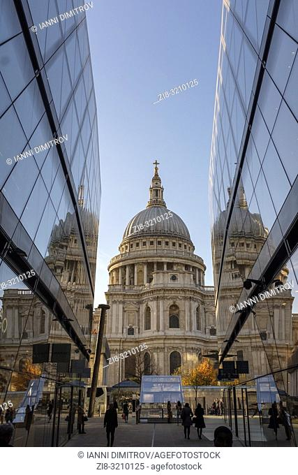 England ,London, Saint Pauls Cathedral fom One New Change High-end Shopping complex at night