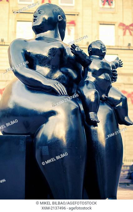 "Sculpture """"Maternidad"""" of Fernando Botero. Oviedo, Asturias, Spain, Europe"