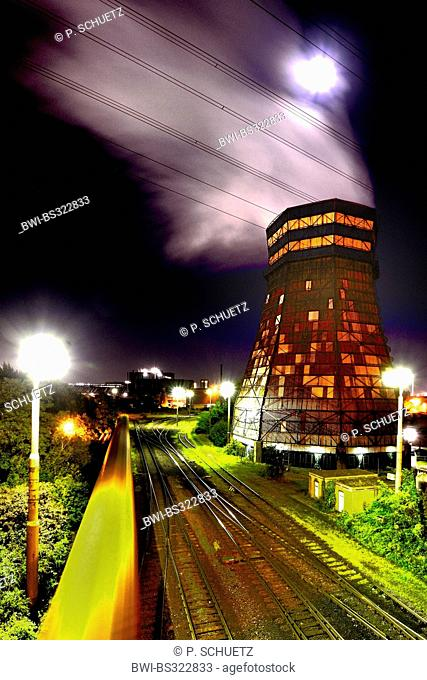 cooling tower at night, industrial scenery, Germany, North Rhine-Westphalia, Ruhr Area, Duisburg