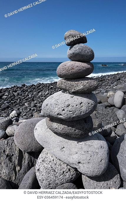 Huge amount of zen stones piled in the beach, Puerto de la Cruz, Tenerife, Spain