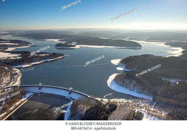 Dam with Möhnesee in winter, low water, Sauerland, North Rhine-Westphalia, Germany