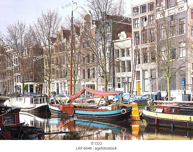 Houseboats in a Gracht, Amsterdam, Netherlands