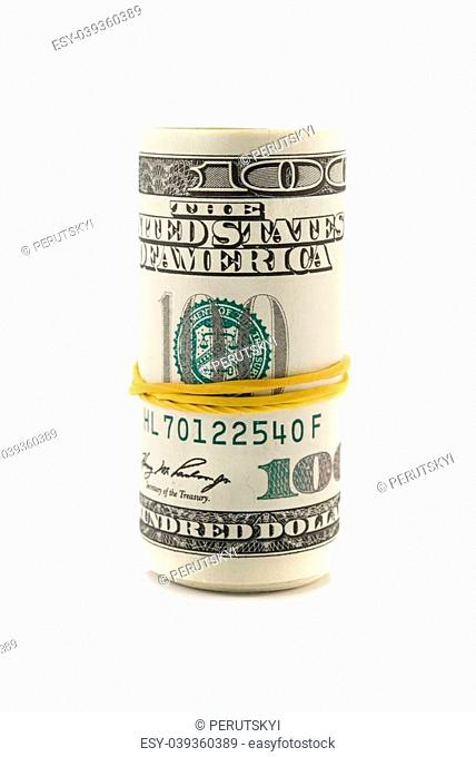 dollars roll isolated on white background