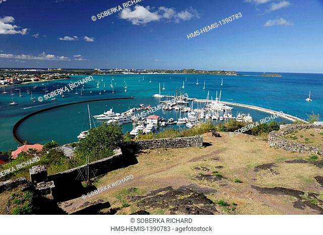 France, French West Indies, Saint Martin island, Marigot, view over the bay from Fort Saint Louis