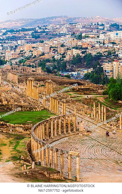 Oval Plaza and The Colonnaded Street, Greco-Roman ruins, Jerash, Jordan