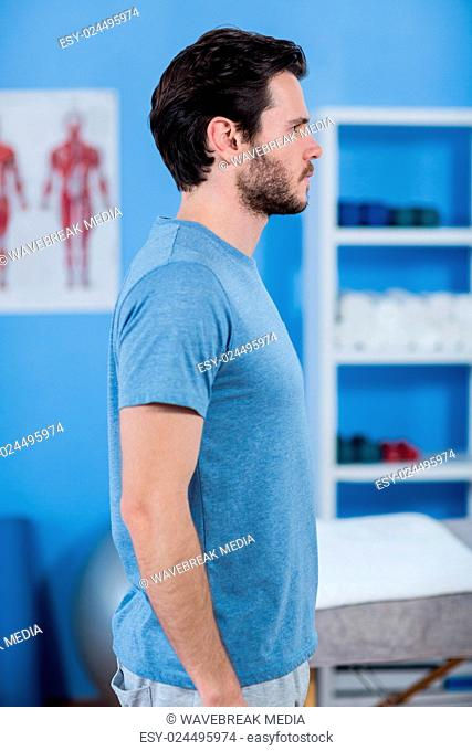 Side view of male patient in clinic