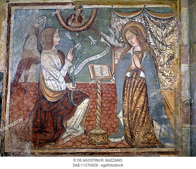 Annunciation, fresco attributed to the workshop of Tommaso Cagnola (? -1509), Madonna del Latte (Nursing Madonna) oratory, Gionzana, Novara, Piedmont
