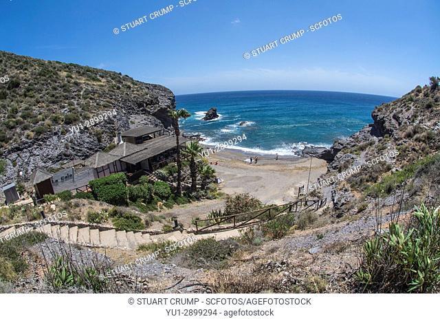 Fisheye view over La Cala Restaurant and Cala del Barco bay at La Manga Club Resort in Murcia Spain