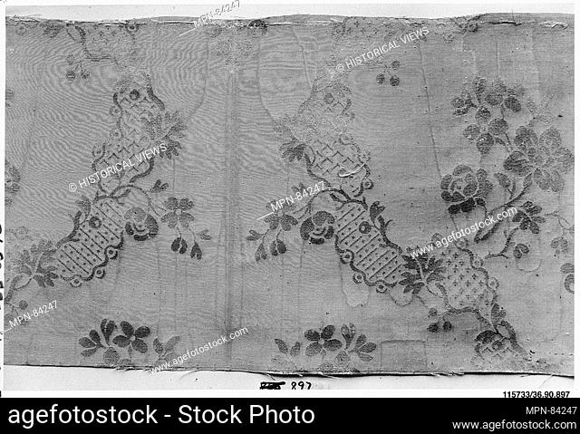 Piece. Date: 1750-60; Culture: French; Medium: Silk; Dimensions: L. 17 3/4 x W. 9 inches (45.1 x 22.9 cm); Classification: Textiles-Woven; Credit Line: Gift of...