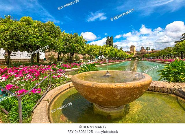 Close up of fountain in the popular gardens of Alcazar de los Reyes Cristianos, Andalusian city of Cordoba, Spain