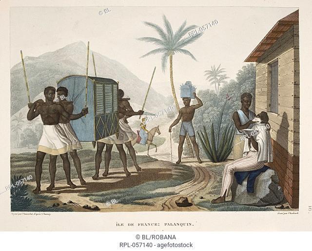 Ile de France Palanquin Slaves carrying a container. Image taken from Voyage autour du monde entrepris par ordre du Roi sous le minist:ere et conform:ement aux...