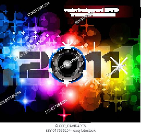 Colorful New Year Celebration Background with Glitter and Rainbow Colours