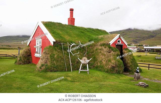 The Lindarbakki House is a privately owned traditional turf home located in Borgarfjordur Eystri, Iceland